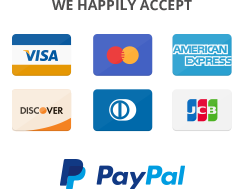 We accept Visa, MC, AMEX, Discover, Diner's Club and PayPal